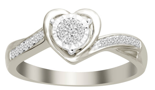 LADIES RING 1/10 CT ROUND DIAMOND 10K WHITE GOLD
