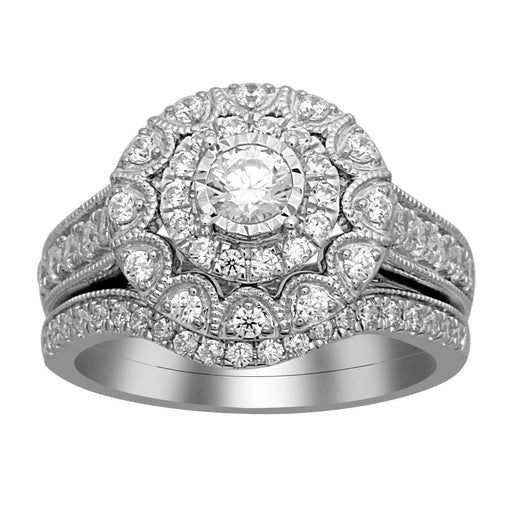 LADIES BRIDAL RING SET 1 CT ROUND DIAMOND 14KT WHITE GOLD
