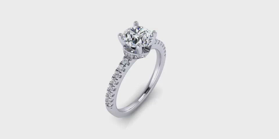 One Carat Round Center Hidden Halo Diamond Engagement Ring with Side Diamonds-Angelucci Jewelry
