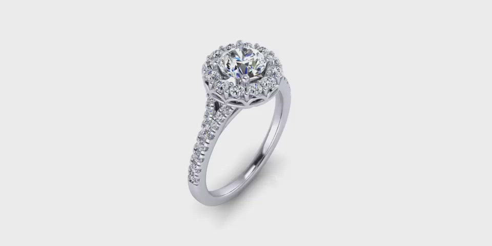 Round Halo Diamond Engagement Ring with Side Diamonds-Angelucci-Jewelry