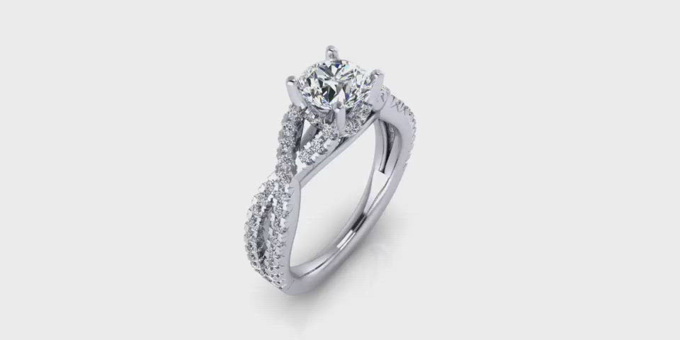 Larger Infinity Round Brilliant Diamond Engagement Ring-Angelucci-Jewelry