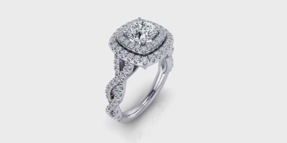 Double Halo Round Center Infinity Diamond Engagement Ring-Angelucci-Jewelry