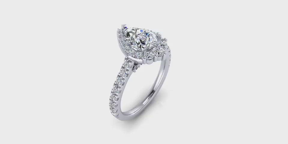 One Carat Pear Shape Halo Diamond Engagement Ring-Angelucci Jewelry