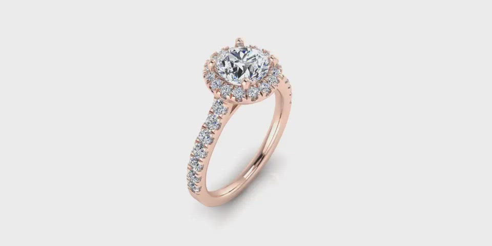One Carat Round Brilliant Halo Diamond Engagement Ring-Angelucci Jewelry