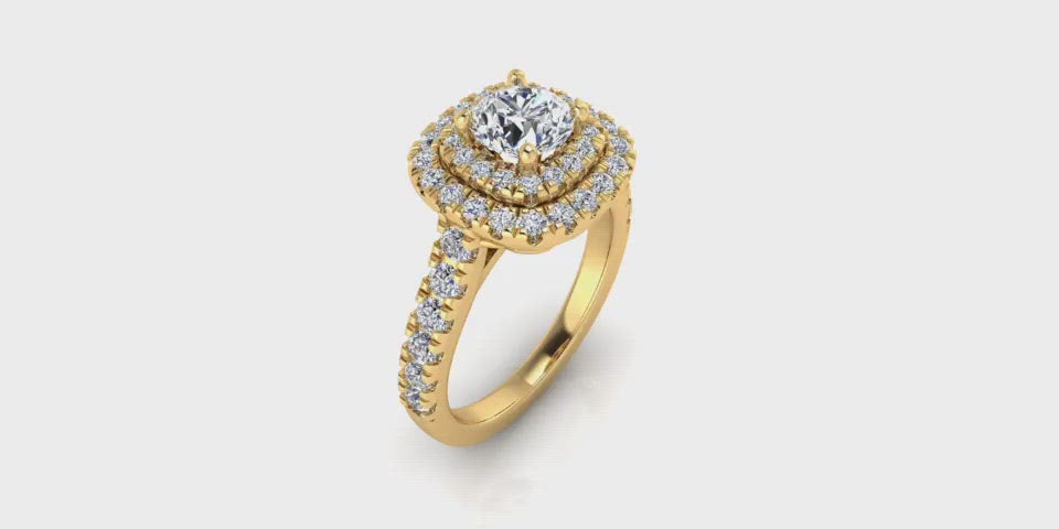 Round Shape 14-Karat Double Halo Diamond Engagement Ring with Large Side Diamonds-Angelucci-Jewelry