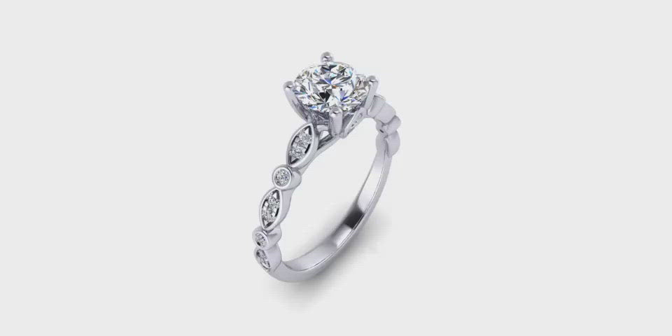 Round Center Diamond Engagement Ring with Side Alternating Marquise and Round Accents-Angelucci-Jewelry