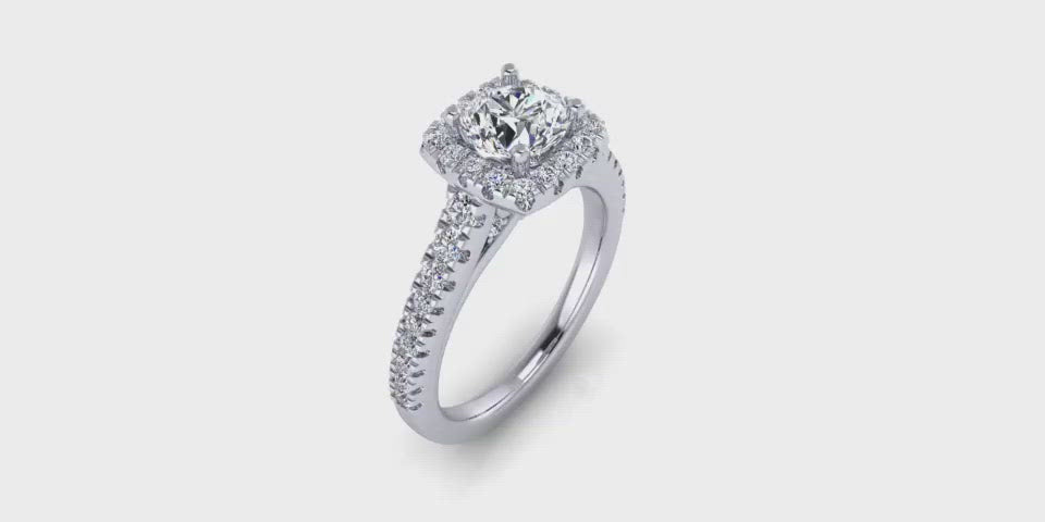 Round Center Halo with Side Diamonds Engagement Ring-Angelucci-Jewelry