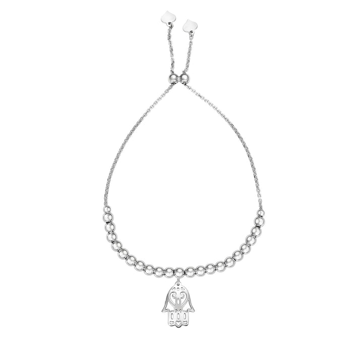 Silver 9.25 inches with Rhodium Finish Chain:5mm+Pendant:15x11mm Shiny Adjustable Friendship Bracelet with Draw String Clasp