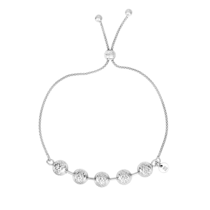 Silver 9.25 inches Rhodium Finish 8-1.4mm Large Shiny+ Diamond Cut Ball On Round Popcorn Chain Fancy Adjustable Bracelet with Ball Clasp
