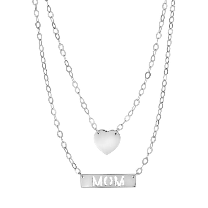 Silver 18 inches Rhodium Finish Shiny+Diamond Cut Fancy Double Stranded+Graduated Link Chain Element+Mom+Heart Element on Chain Necklace with Lobster Clasp