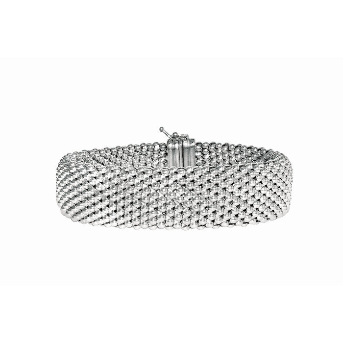 Silver 7.5 inches with Rhodium Finish 18mm Shiny Mesh Type Bracelet with Box Catch Clasp