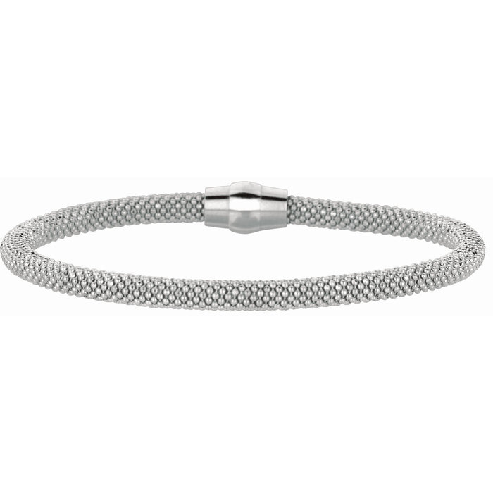 Silver 7.5 inches with Rhodium Finish 4.8mm Shiny Beaded Bracelet with Magnetic Clasp