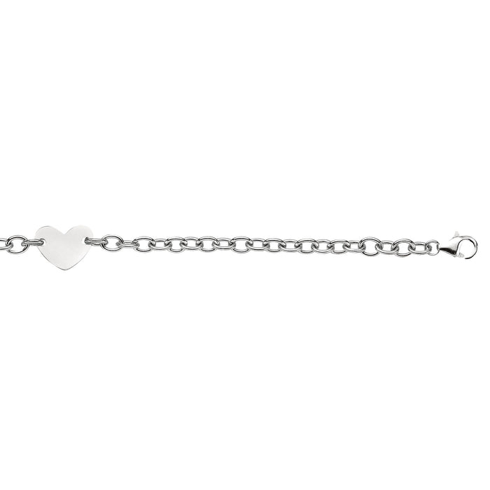 Silver 7.25 inches with Rhodium Finish 5.0mm Shiny Oval Cable Link Bracelet with Flat Heart Charm with Pear Shape Clasp