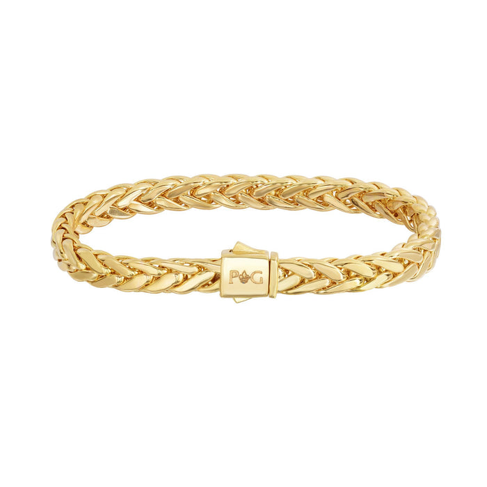 14kt 7.5 inches Yellow Gold Shiny Fancy Flat Weaved Braided Bracelet with Box Clasp