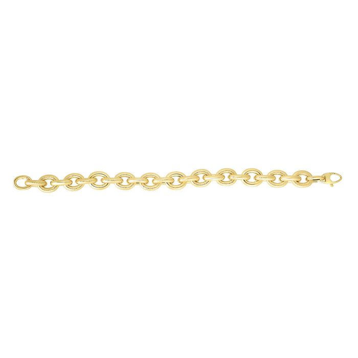 14kt 7.5 inches Yellow Gold Alternate Shiny+Textured Oval Link Bracelet with Lobster Clasp