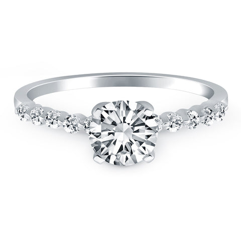 Image of 14k White Gold Diamond Engagement Ring with Shared Prong Diamond Accents