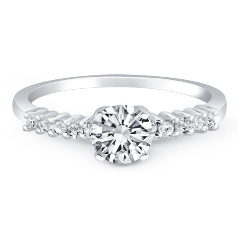14k White Gold Shared Prong Accent Diamond Engagement Ring