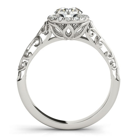 Image of 14k White Gold Halo Antique Style Round Diamond Engagement Ring (5/8 cttw)