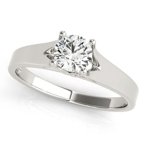 Image of 14k White Gold Prong Set Style Solitaire Diamond Engagement Ring (1/2 cttw)