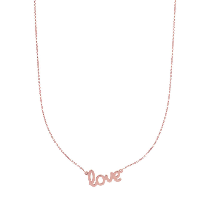 14kt 18 inches Rose Gold Shiny Flat Scripted Medium  incheslove inches on Round Rolo Chain with Lobster Clasp with Ring at 17 inches