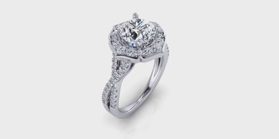 Art-Deco One Carat Infinity Diamond Engagement Ring-Angelucci Jewelry