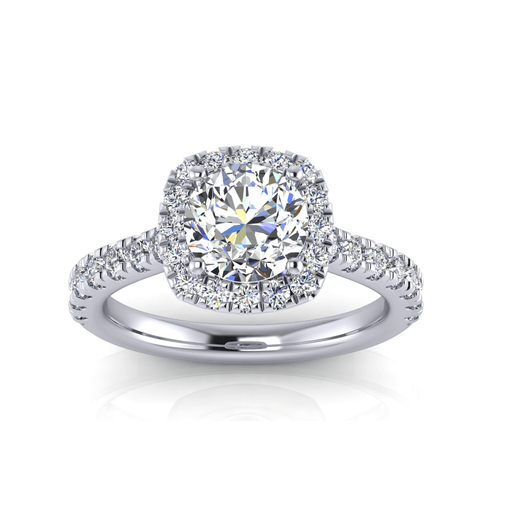1 1/2 Carat Round Brilliant Halo Diamond Engagement Ring angelucci-jewelry
