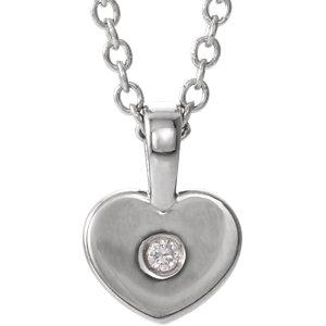 "14K White .01 CTW Diamond Heart Youth 16"" Necklace angelucci-jewelry"