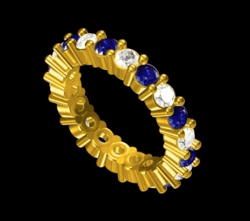 3MM WIDTH 18 KARAT YELLOW GOLD ALTERNATING DIAMOND AND SAPPHIRE STACKABLE BAND angelucci-jewelry