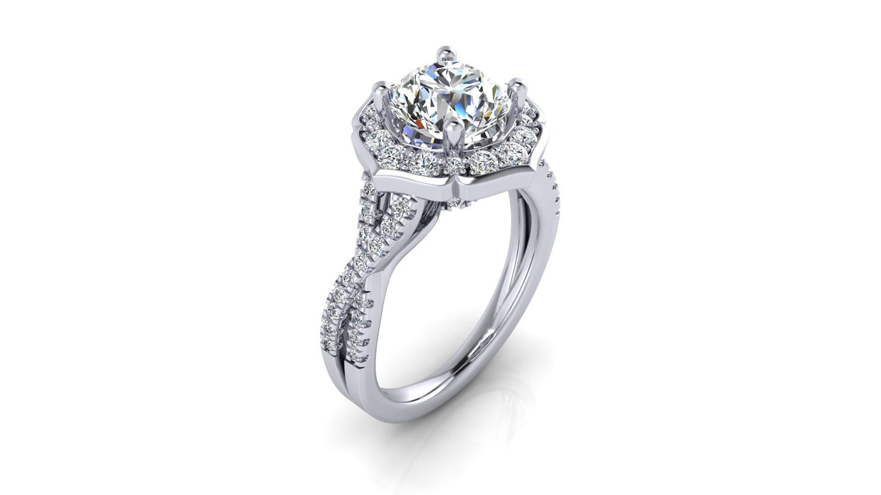 Art-Deco One Carat Infinity Diamond Engagement Ring angelucci-jewelry