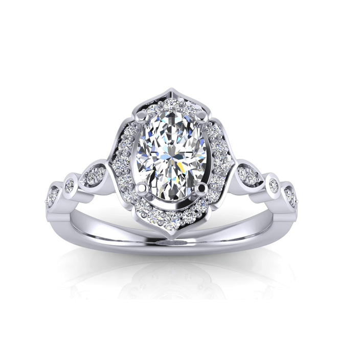 Art-Deco One Carat Oval Diamond Engagement Ring with Alternating Marquise and Round Sides angelucci-jewelry