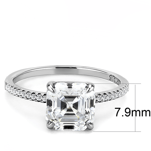 Asscher Shape CZ Engagement Ring with Side Stones angelucci-jewelry