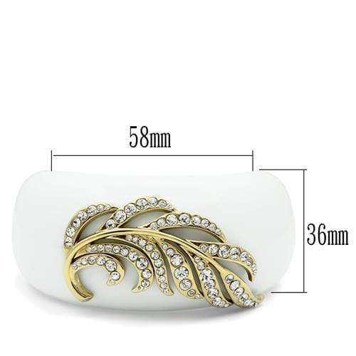 "Bangle 5.5"" VL028 IP Gold(Ion Plating) Brass Bangle with Synthetic in White angelucci-jewelry"