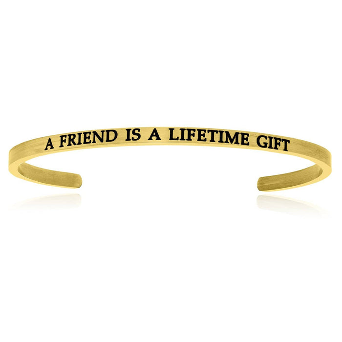Bangles stainless steel Yellow Stainless Steel A Friend Is A Lifetime Gift Cuff Bracelet angelucci-jewelry