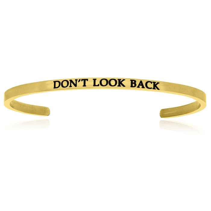 Bangles stainless steel Yellow Stainless Steel Don't Look Back Cuff Bracelet angelucci-jewelry