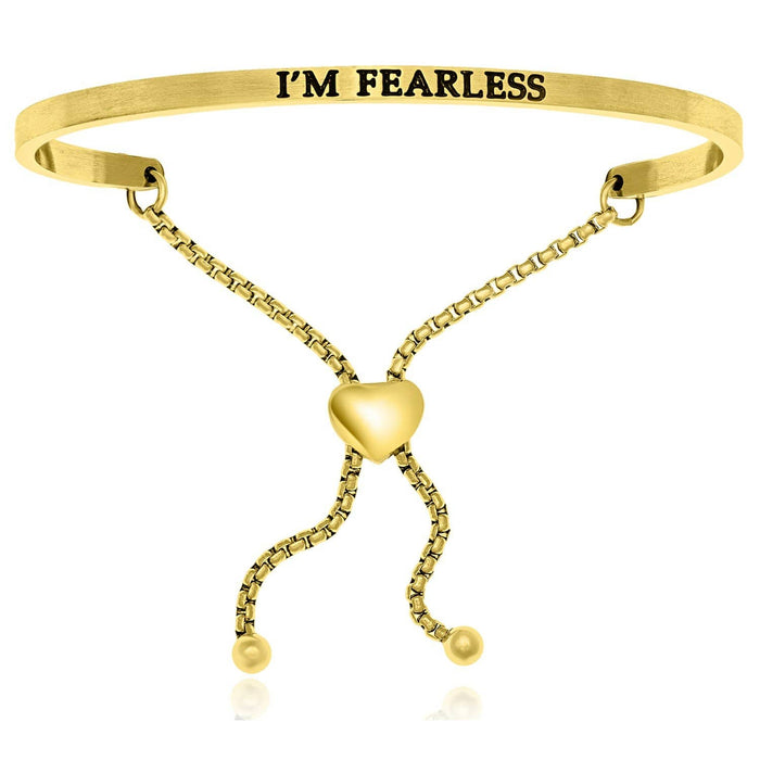Bangles stainless steel Yellow Stainless Steel I'm Fearless Adjustable Bracelet angelucci-jewelry