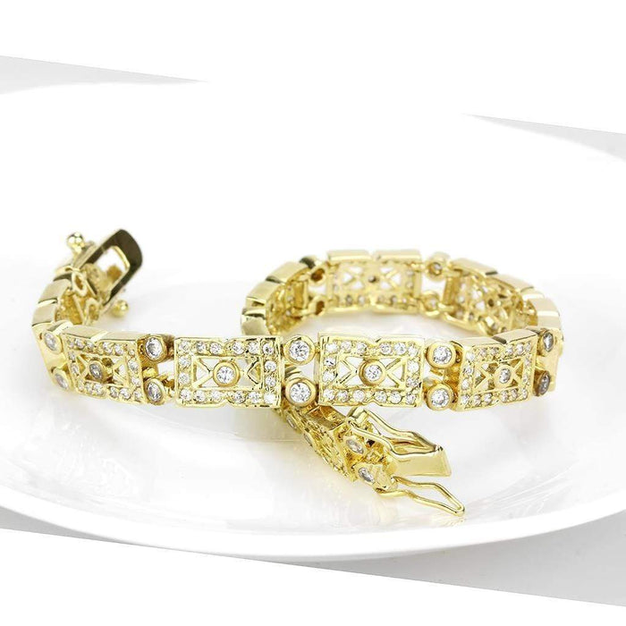 "Bracelet 7"" LO4735 Gold Brass Bracelet with AAA Grade CZ in Clear angelucci-jewelry"