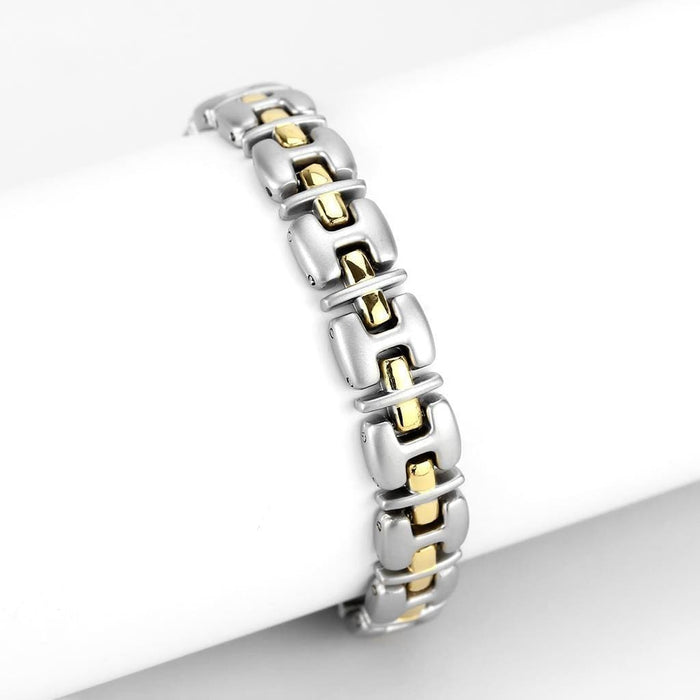 "Bracelet 7"" LO4739 Gold+Rhodium White Metal Bracelet with No Stone in No Stone angelucci-jewelry"
