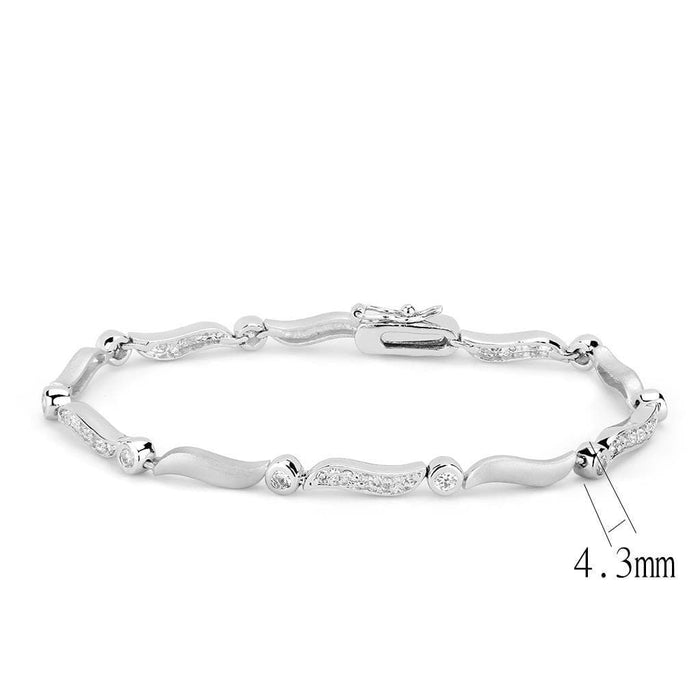 "Bracelet 7"" LO4740 Matte Rhodium & Rhodium Brass Bracelet with AAA Grade CZ in Clear angelucci-jewelry"