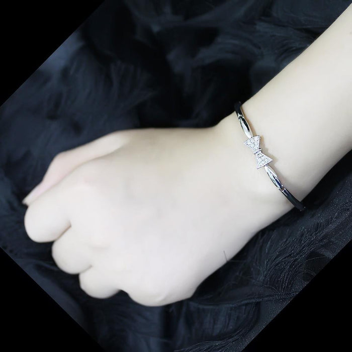 "Bracelet 7"" LO4742 Rhodium Brass Bracelet with Top Grade Crystal in Clear angelucci-jewelry"