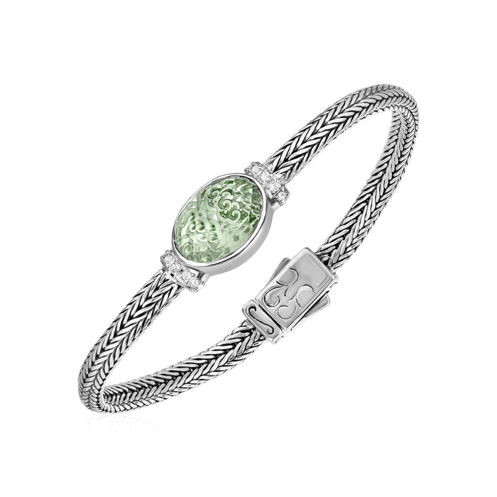 Bracelets 7.25 Woven Rope Bracelet with Green Amethyst and White Sapphires in Sterling Silver angelucci-jewelry