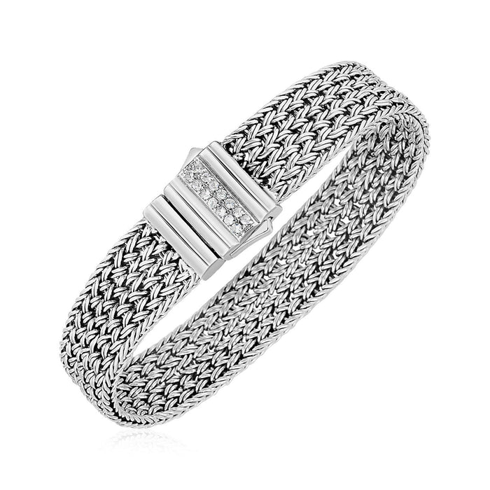 Bracelets 7.25 Woven Rope Bracelet with White Sapphire Accented Clasp in Sterling Silver angelucci-jewelry