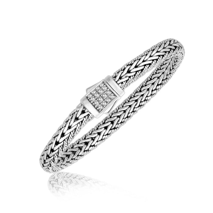 Bracelets 7.5 Sterling Silver White Sapphire Accented Braided Men's Bracelet angelucci-jewelry