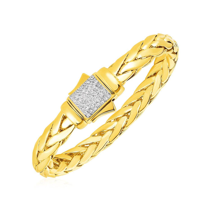 Bracelets 8.5 / Yellow gold Woven Rope Bracelet with Diamond Accented Clasp in 14k Yellow Gold angelucci-jewelry