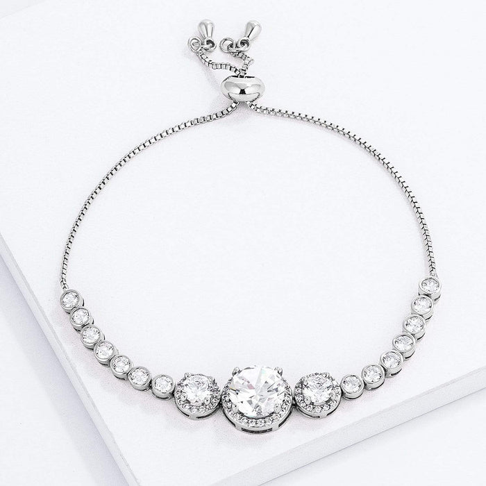 Bracelets Adjustable Rhodium Plated Graduated Clear CZ Bolo Style Tennis Bracelet angelucci-jewelry
