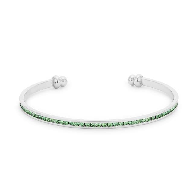 Bracelets Channel-Set Peridot Green Cubic Zirconia Cuff angelucci-jewelry