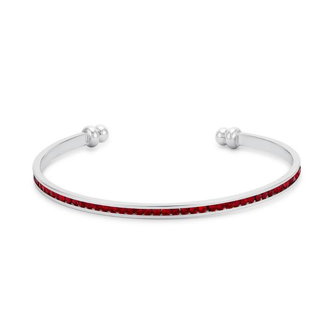 Bracelets Channel-Set Ruby Red Cubic Zirconia Cuff angelucci-jewelry