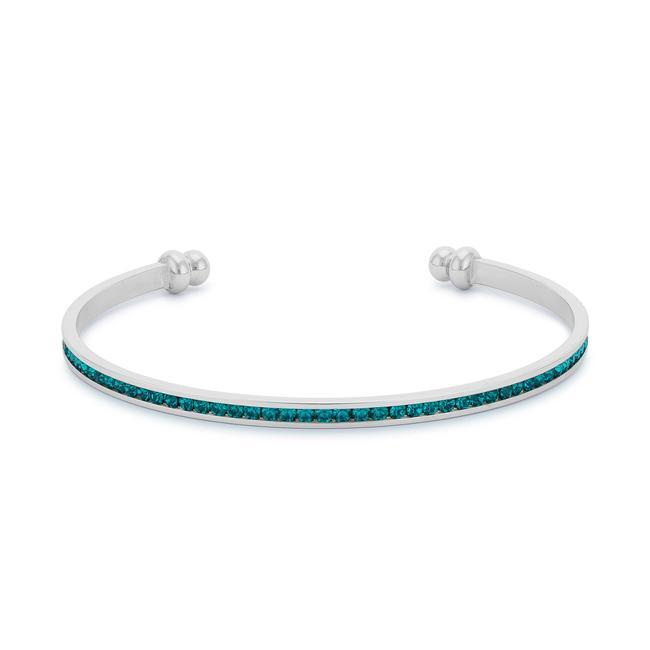 Bracelets Channel-Set Turquoise Cubic Zirconia Cuff angelucci-jewelry