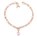 Bracelets Rose Gold Plated Breast Cancer Awareness Ribbon and Heart Charm Bracelet angelucci-jewelry