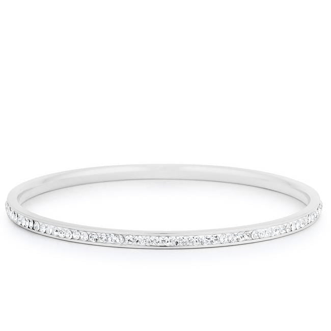 Bracelets Simple Rhodium Plated Finish Crystal Bangle angelucci-jewelry