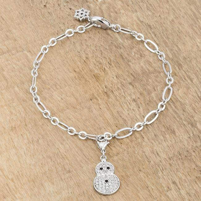 Bracelets Snowman 0.2ct CZ Rhodium Holiday Charm Bracelet angelucci-jewelry